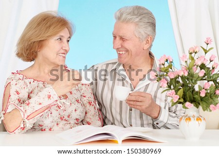 Happy elderly couple in a beautiful room - stock photo