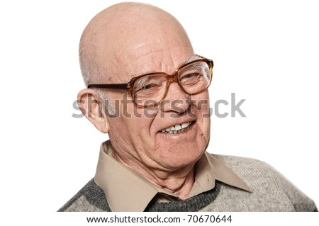 Happy elderly man isolated on white background - stock photo