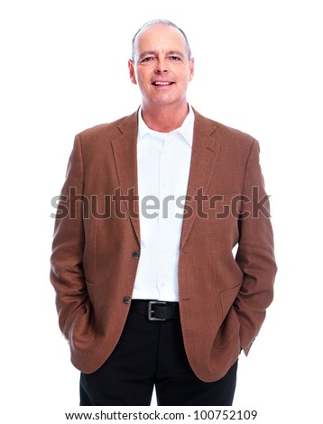 Happy elderly man. Isolated over white background. - stock photo