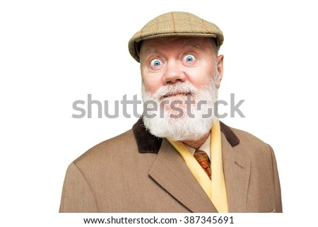 Happy elderly man, senior, is posing on white background, color and contrast manipulated - stock photo