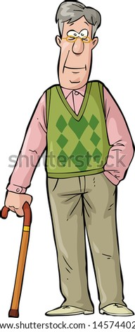 Happy elderly man with a cane raster version - stock photo
