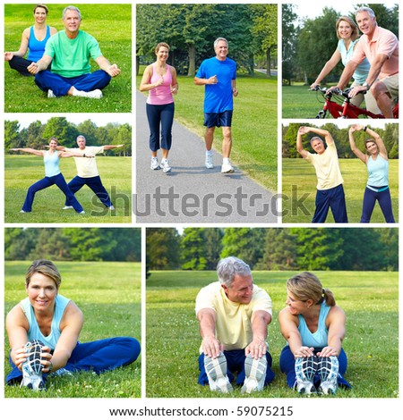 Happy elderly senior couple cycling, jogging, working out  in park