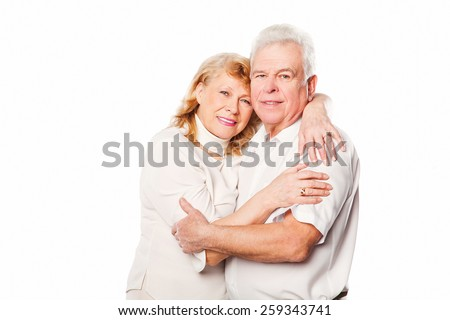 Happy elderly seniors couple in love. Isolated on white background. - stock photo