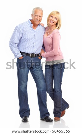 Happy elderly seniors couple in love. Isolated over white background - stock photo