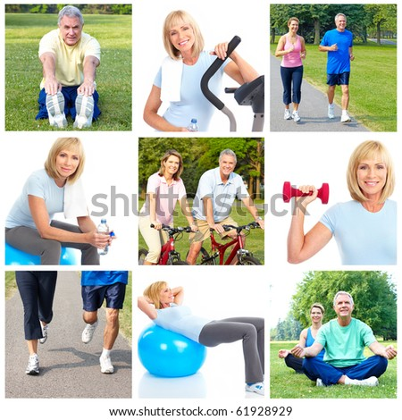 Happy elderly seniors doing fitness in park - stock photo