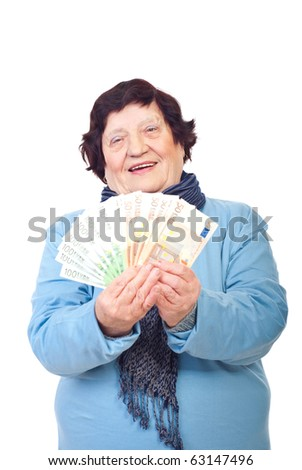 Happy elderly woman holding Euro banknotes isolated on white background