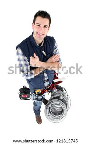 happy electrician - stock photo