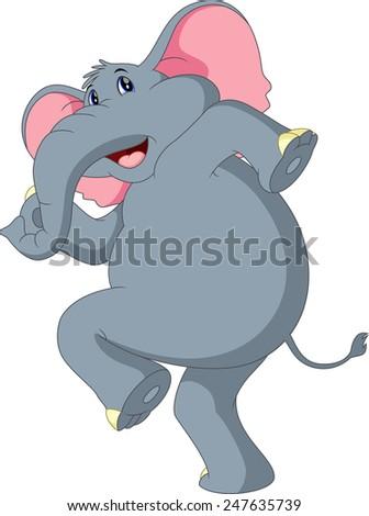 Happy elephant cartoon - stock photo