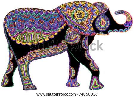 happy elephant of various elements on a white background