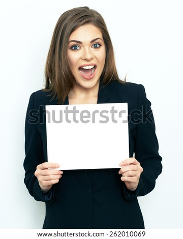 Happy emotional business woman show white sign card. White background. Advertising board. - stock photo