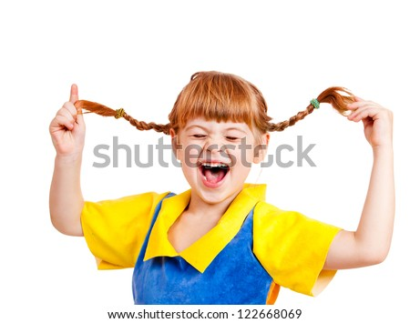 Happy emotional red headed girl, over white - stock photo