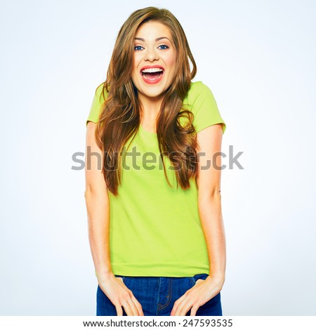 Happy emotional woman. Female model portrait isolated on white background. - stock photo