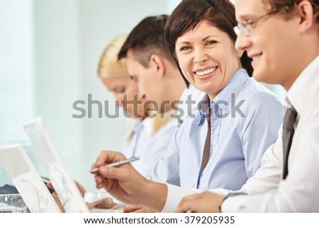 Happy employee - stock photo