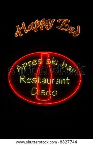 Happy End bar in Bansko, Bulgaria - stock photo