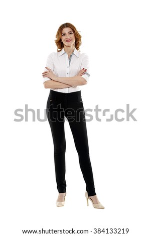 Happy european businesswoman in full length on white background - stock photo