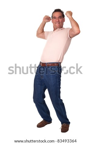Happy Excited Attractive Middle Age Man Celebrating with Fists in Air - stock photo