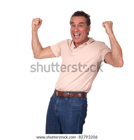 Happy Excited Attractive Middle Age Man Punching Air with Fists - stock photo