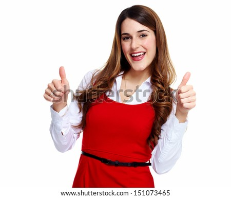 Happy excited business woman. Isolated over white background.