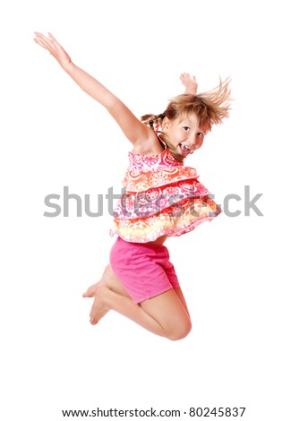 Happy excited Jumping girl isolated on white - stock photo