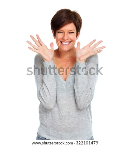 Happy excited mature woman isolated white background. - stock photo