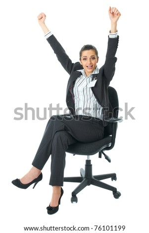 happy excited young businesswoman, sits in office chair, isolated on white
