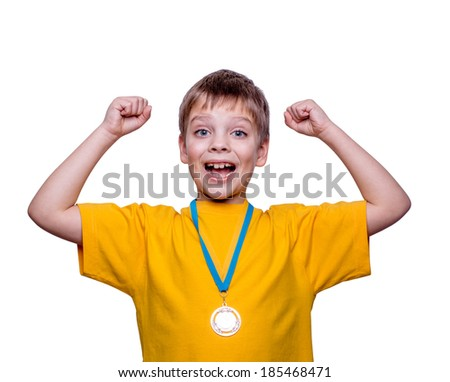 Happy exited boy with medal isolated on white - stock photo