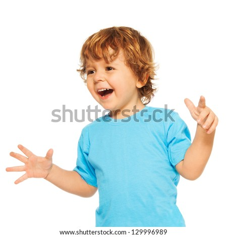 Happy exited two years old kid with open mouse and open hands - stock photo