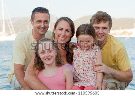happy extended family parents with children , step families - stock photo