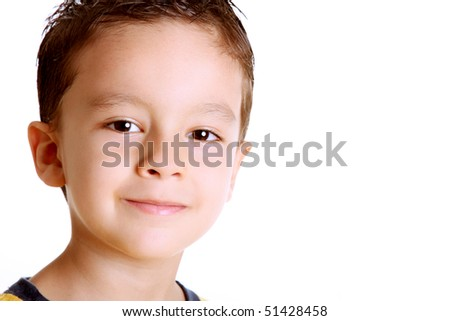 Happy face child over white background. Space to insert text or design - stock photo