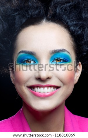 Happy face of girl with bright makeup - stock photo