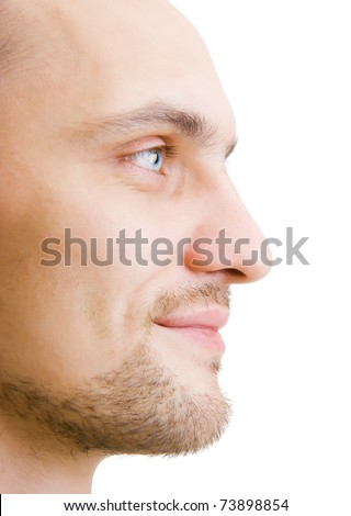 happy face unshaven young man in profile on a white background