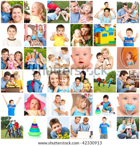 Happy families. Fathers, mothers and children - stock photo