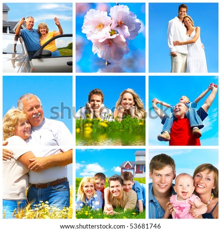 Happy families in park under blue sky - stock photo