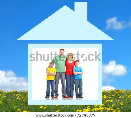 Happy family at home. Father, mother and children. - stock photo