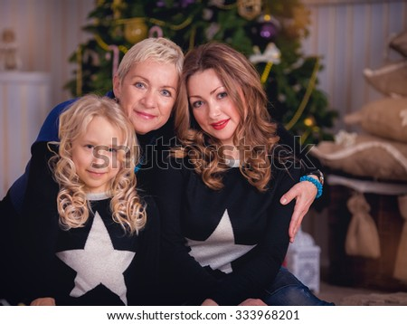 Happy family at home in christmas time. Christmas concept. - stock photo