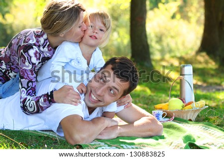 happy Family at picnic on nature