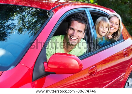 Happy family at the new car. Automobile. - stock photo