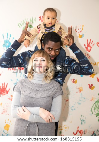 Happy  family  black father, mom and baby boy Use it for a child, parenting or love concept - stock photo