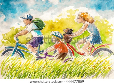 Happy family-boy and his parents on summer biking.Picture created with watercolors. - stock photo