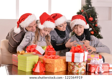 happy family celebrated the New Year at home - stock photo