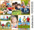 Happy family collage background. People outdoors. - stock photo