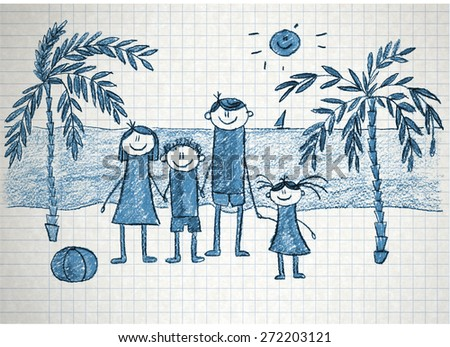 Happy family. Colorful summer picture. Kids drawing - stock photo