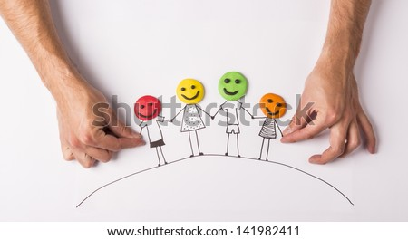 Happy family concept with heads from play dough - stock photo