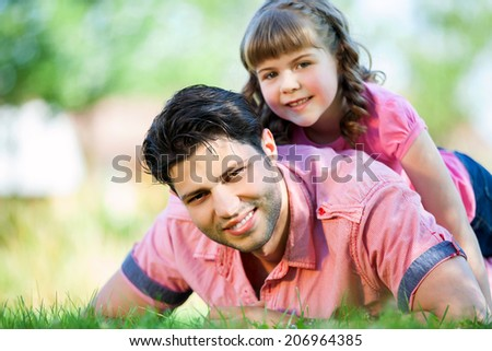 happy family dad and daughter