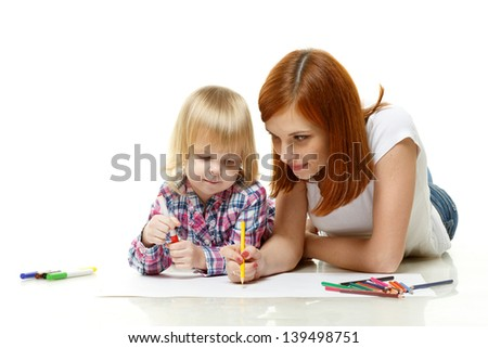 Happy family drawing picture on a white background.