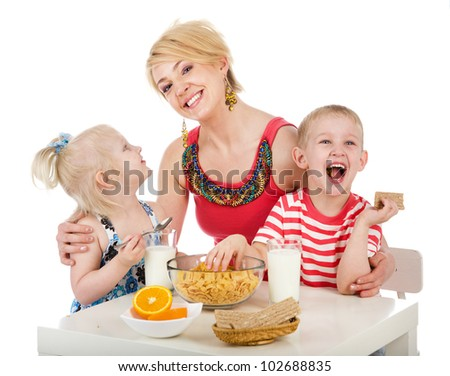 happy family eating healthy food. isolated on white background - stock photo