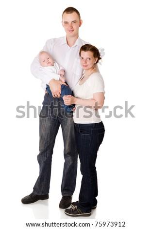 Happy Family enjoying baby together isolated on white - stock photo