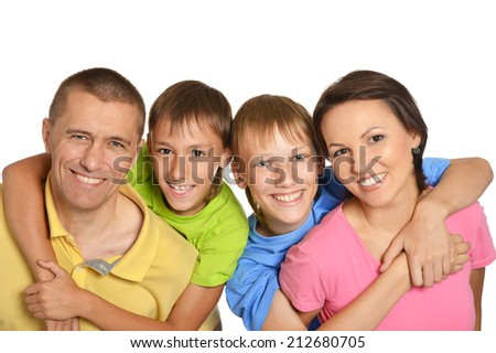 Happy family faces isolated on white background - stock photo