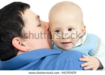 Happy family: father and baby  smiling - isolated on white background - stock photo