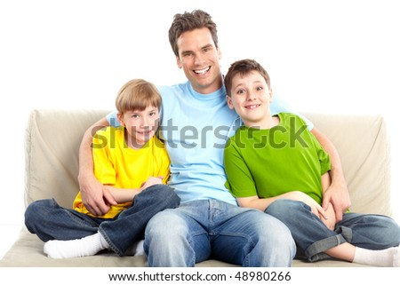 Happy family. Father and children. Over white background